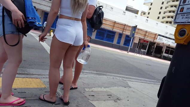 Candid Voyeur Ultimate Blonde PAWG Tight White Shorts fr